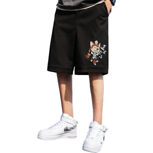 Katenyl Pantalones Cortos Informales Deportivos de Baloncesto Holgados de Moda con Estampado de Tendencia de Talla Grande para Hombre M