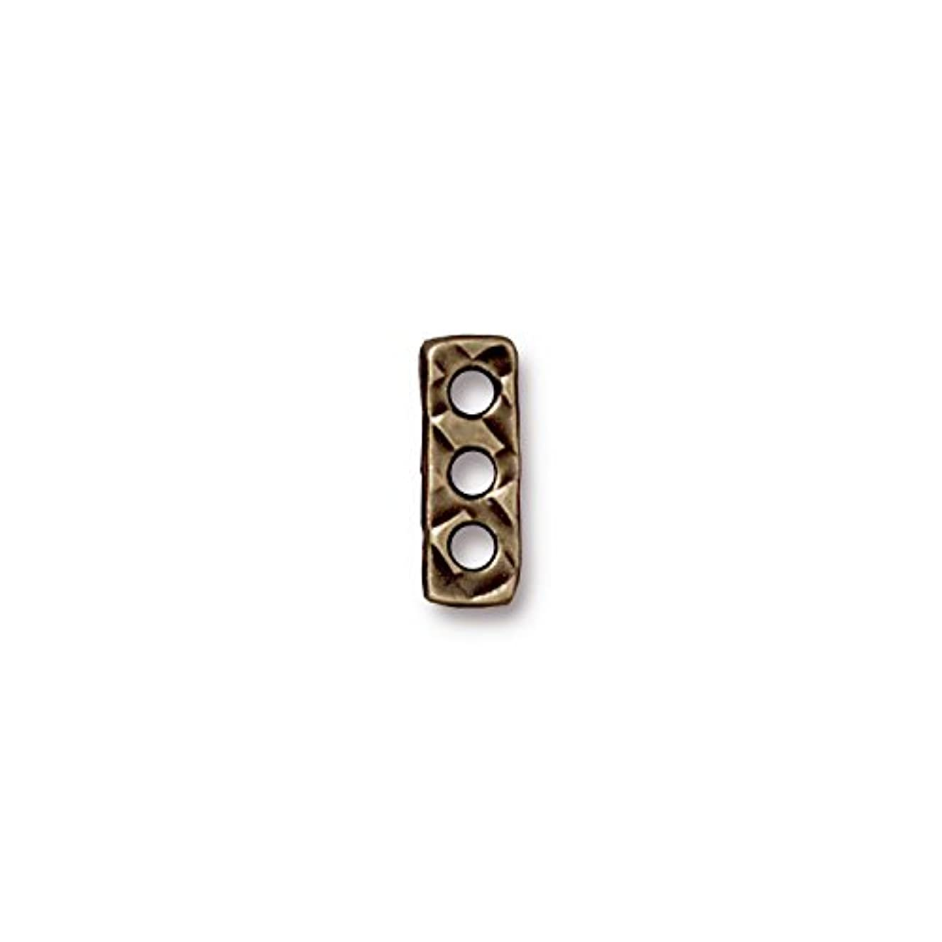 TierraCast Rock and Roll 3 Hole Bar, 5x14mm, Antique Brass Oxide Finish Pewter, 4-Pack