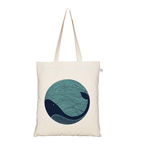 EcoRight Canvas Tote Bag for Women, Cute Bags for Girls | Eco Friendly Cotton Shopping Bags, Beach Bag, Bridesmaid Gifts | Kitchen Reusable Grocery Bags, Book Tote | Whale Doodle | 0101L01