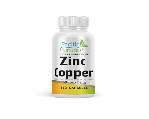 Pacific Nature's Zinc Copper, (50mg as Zinc Gluconate + 2mg Copper Sulphate Pentahydrate) Supporting Immunity, Antioxidant, Thyroid Function, Cellular Rejuvenation* (150 Capsules)