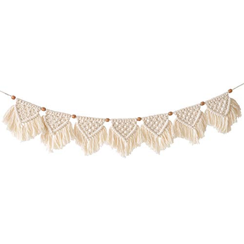 INDRESSME Macrame Woven Wall Hanging Fringe Garland Banner - Boho Chic Bohemian Wall Décor Apartment Dorm Living Room Bedroom Decorative Wall Art, 24cm L x 114cm W, 7 Flags