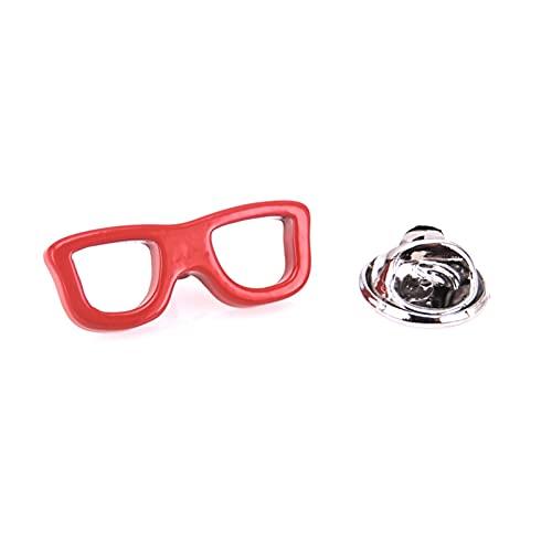 YSHSPED Broche con broche para hombre, diseño de anclaje, para motocicleta, timón, velero, ropa, collar (Metallfarbe: gafas rojas)