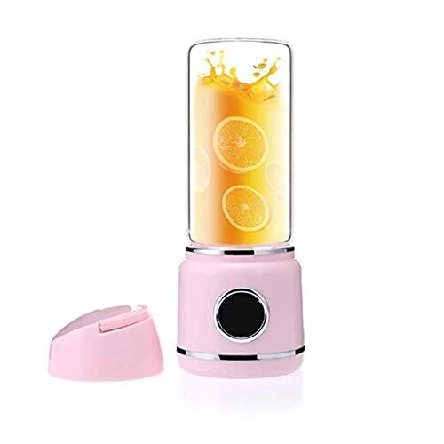 ZTTTD Portable USB JuicerBlades Handhels Bottle USB Electric Fruit Citrus Lemon Juicer Blender Squeezer Reamer Machine 450ML (Color : Pink)