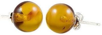Trustmark 14K White Gold 6mm Natural Baltic Honey Amber Ball Stud Post Earrings, Anya