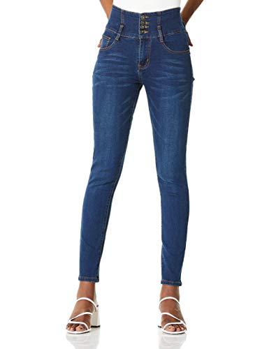 Demon&Hunter 617 Serie Jeanshose Damen Jeans Hohe Taille Push Up Skinny Damenjeans DH8017(Blau/28)