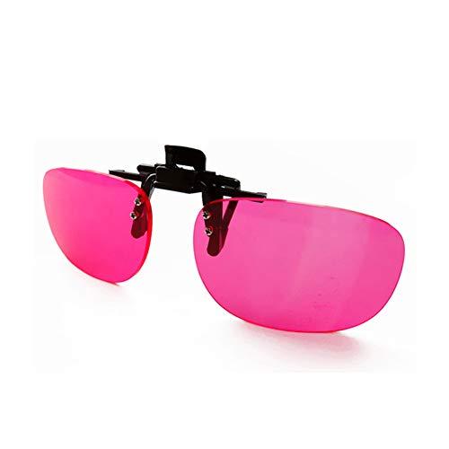 HEWYHAT Gafas daltonicos Rojo Verde Ceguera, Gafas de Sol con Clip, Trastorno de la visión, Lentes correctivas de Resina Rosa para Uso en Exteriores e Interiores para Hombres