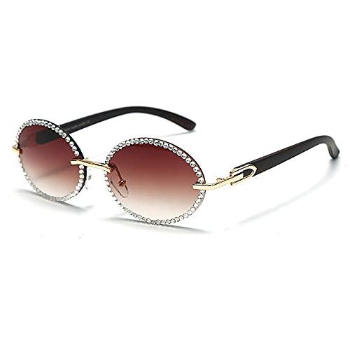 Gafas de sol redondas vintage con diamantes de imitación para mujer, patas de grano de madera, gafas de sol Steampunk para hombre, anteojos de cristal ovalados, sombras UV400-5_brown_Universal