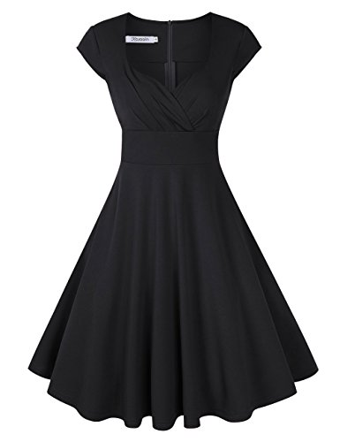KOJOOIN Damen Vintage Kleid Cocktailkleid Abendkleid Ballkleid Rockabilly Taillenbetontes Kleid Knielang Schwarz V-Ausschnitt XL