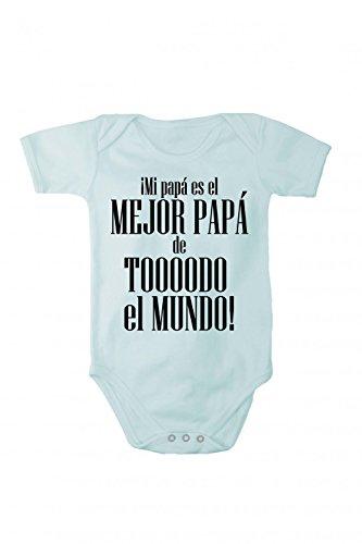 Fabio Farini baby-body met korte mouwen voor meisjes en jongens, 100% katoen, beste papa in verschillende talen, blauw, Spaans, maat 74