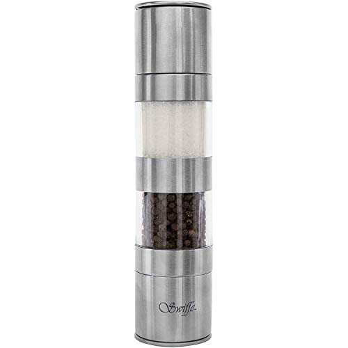 Swiffe Salt and Pepper Grinder 2 in 1 - Stainless Steel and Acrylic Salt and Pepper Mill - Adjustable Coarseness - Good Fresh Grind - Great for Gourmet Kitchen Chefs - Classic Design - Nice On Table