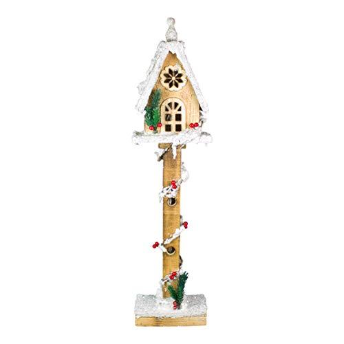 The Christmas Workshop Arbre en Bois Maison, LED Blanc Chaud, 70 cm de Hauteur x 15 cm de Large x 10.5 cm de Profondeur