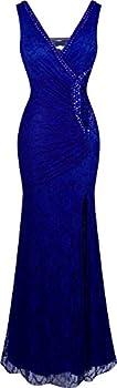 Angel-fashions Women s V Neck Lace Split Ruffled Beading Sheath Dress X-Large Royal Blue