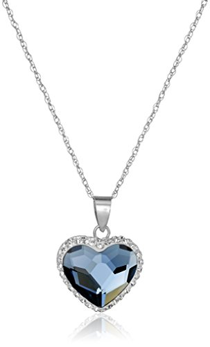 "Sterling Silver Swarovski Elements Two Tone Heart Pendant Necklace, Denim Blue, 18"""