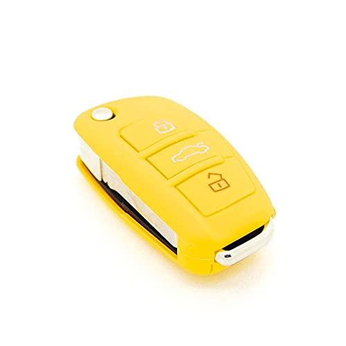 Générique Housse de clé en Silicone pour Audi A1 A2 A3 A4 A5 3 Boutons Jaune