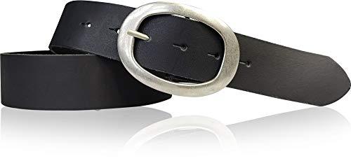 FRONHOFER Gürtel 4 cm Damen Ledergürtel, ovale Gürtelschnalle in silber, Basicgürtel, runde Schnalle, 17611, Größe:Körperumfang 115 cm/Gesamtlänge 130 cm, Farbe:Schwarz