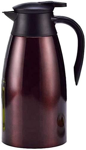 ZQADTU Hervidor de agua, jarra térmica de acero inoxidable 304, termo portátil de gran capacidad, 2 l, aislamiento de té/leche/café (color: marrón)