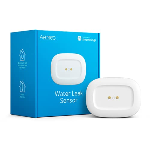 Aeotec SmartThings SmartThings Water Leak Sensor, ZigBee, Battery Powered, Smart Home Hub Compatible