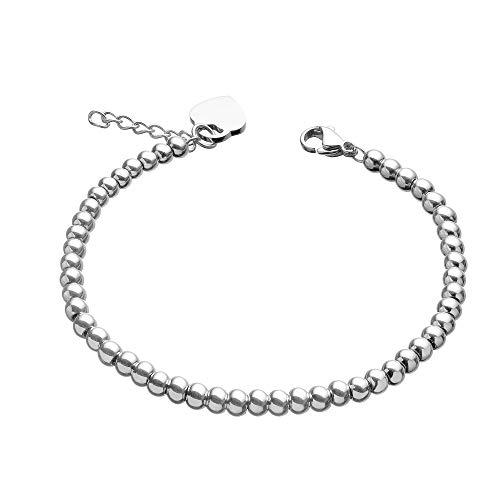 URBANHELDEN - Edelstahl Perlen Armband mit Herz Anhänger - Edelstahlarmband Perlenarmband - Damen Herzarmband - Damenarmband Schmuck - Silber
