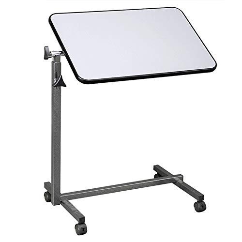 PHH Mesa de Noche Ajustable MDF/Hierro / 4 Ruedas con Freno de Plata Gris Que Come la Escritura Jugando Juegos usando Laptop Mientras estás en la Cama