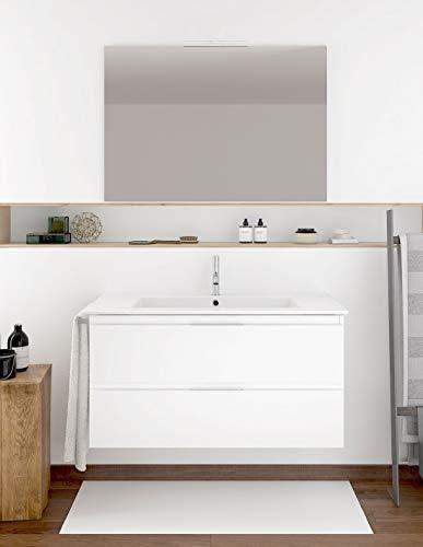 PDM Mueble DE BAÑO SUSPENDIDO con Lavabo Espejo TOALLERO Y (Aplique LED no Incluido) MIZAR 100CM (Blanco Brillo)