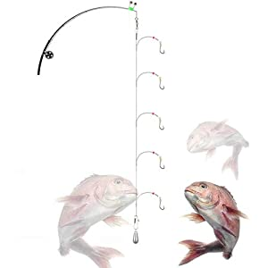 Deep Drop Rig Wire with 5-Hooks,Steel Leaders Fishing Saltwater with Rolling Circle Hook