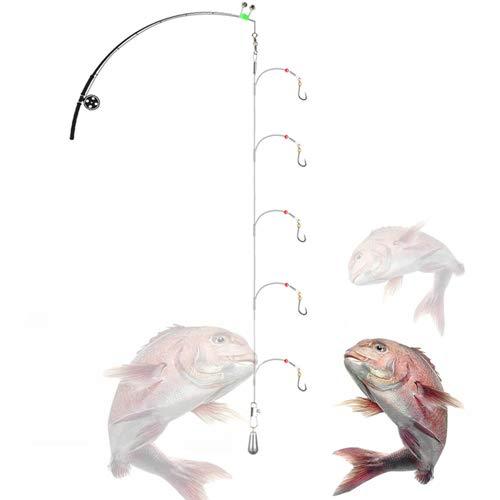 Fishing Hook Snelled Stainless Steel Wire Leader Fishing Rigs Hooks (5 Hooks rig, 12#)