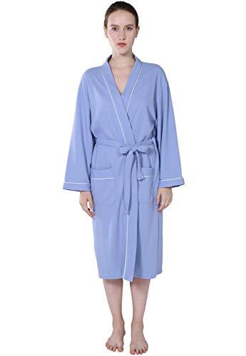 Dames Zijn of wafelprint Kimono Style Hers Spa en Fashionable Completi badjas lange mouwen V-hals comfortabele locker ochtendjas saunamantel