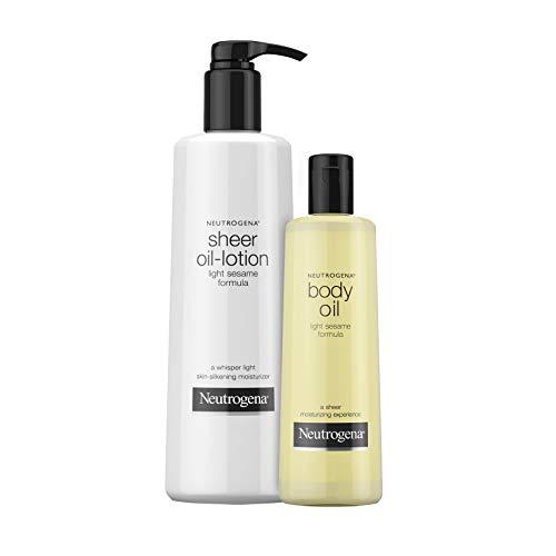 Neutrogena Lightweight Body Oil Moisturizer for Dry Skin, Light Sesame Formula, 16 oz & Sheer Moisturizing Body Oil Lotion with Light Sesame Formula, 32 oz