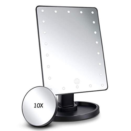 FASHION AMA Miroir LED Maquillage Miroir Lumineux Beauté Miroir Miroir grossissant avec des Lumières Table Miroirs Miroir de courtoisie Lumières Voyage Miroir