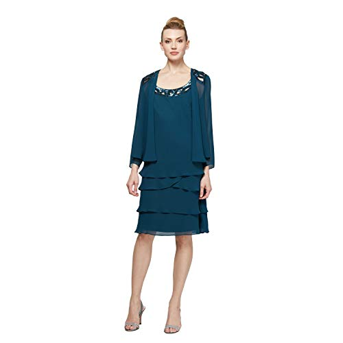 SL Fashions Women's Embellished Tiered Sequin Jacket Dress (Petite and Regular), Mid Teal, 18 (Apparel)