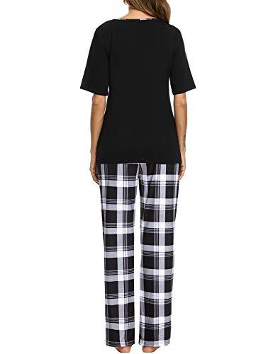 Doaraha Pijama a Cuadros para Mujer Camiseta y Pantalones Pijamas Manga Larga Celosía Ropa de Dormir de Algodón Manga Corta con Bolsillo Cuello de Muesca 2 Piezas (A#1 Negro (pantalón Largo), XL)