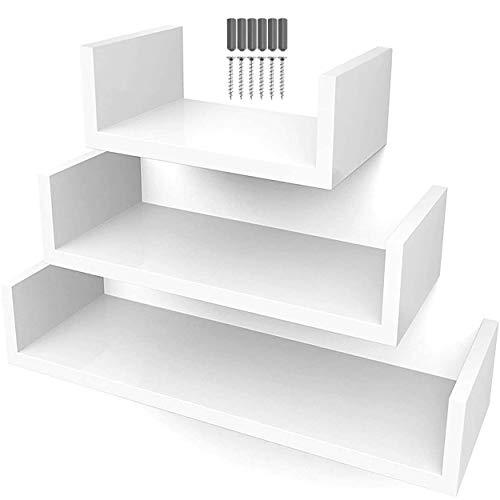 Pack de 3 Estanterías flotantes de Pared. Baldas de decoración para Colgar. Estantes o repisas útiles en Cocina, salón, habitación, baño… Blancas, Madera o Negras (x3 Tamaños) (Blanco)