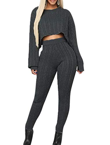 Damenmode Strickpullover & Hose Zweiteiliges Set Slim Casual Loose Cropped Jumpers Suit