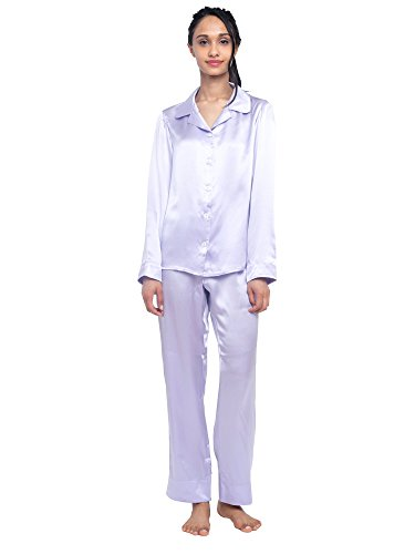 MYK 100% Mulberry Silk Classic Two Piece Pajama Set Button Down Long Length for Women, Extra...