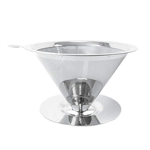 Bingxue Filtro de café Reutilizable Cono de Acero Inoxidable Filtro de café Cestas Colador de Malla