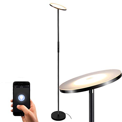Floor Lamp, Floor lamps for living room, Sky LED Torchiere Smart Lamps, TECKIN Dimmable Standing lamp, Remote Control Via Smart Life, Lamps for Bedroom, Office (Compatible with Alexa Google Home)
