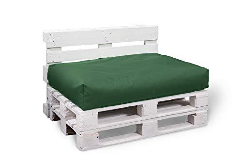BuBiBag Palettenkissen Sitzkissen Sitzauflage Sitzfläche für In & Outdoor Größe & Farbe auswählbar (120x60x10 cm, dunkelgrün)