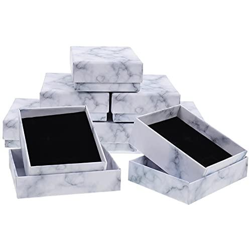 Toyvian 8 Unidades de Caja de Anillo de Boda Caja de Almacenamiento de Joyería con Patrón de Mármol Caja Decorativa para Organizador de Joyas Pendientes para Mostrador de Joyería