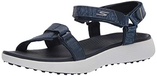 Skechers Women's 600 Spikeless Golf Sandals Shoe, Navy/White, 7 M US