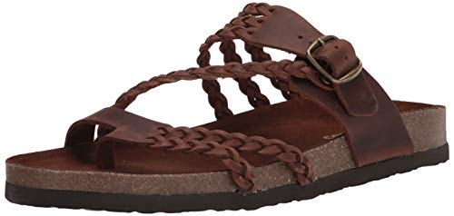 White Mountain Shoes Hayleigh Women's Flat Sandal, Brown/Leather, 6 M