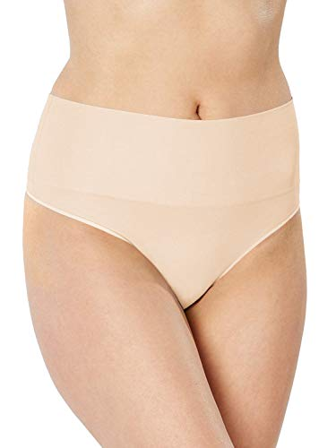 SPANX Women's Everyday Shaping Panties Seamless Thong, Soft Nude, SM