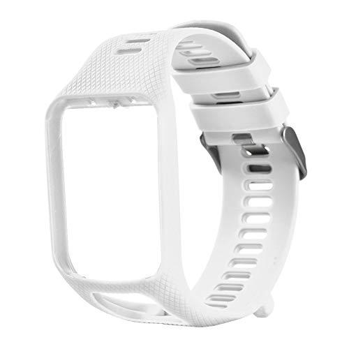 Bracelet pour Tomtom 1 Multi-Sport GPS HRM CSS AM Cardio Runner Montre Silicone Bracelet Souple Bracelet Bracelet Blanc