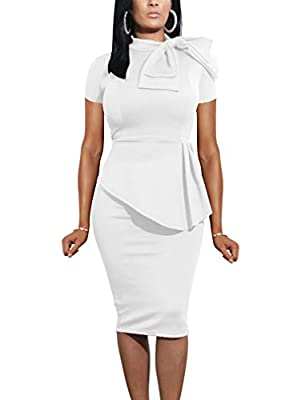 LAGSHIAN Women Fashion Peplum Bodycon Short Sleeve Bow Club Ruffle Pencil Party Dress White
