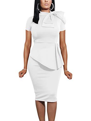 LAGSHIAN Women Fashion Peplum Bodycon Short Sleeve Bow Club Ruffle Pencil Party Dress White