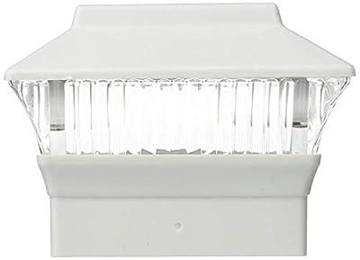 6 Pack 4x4 Solar Powered Plastic White LED Square Fence Post Cap Light