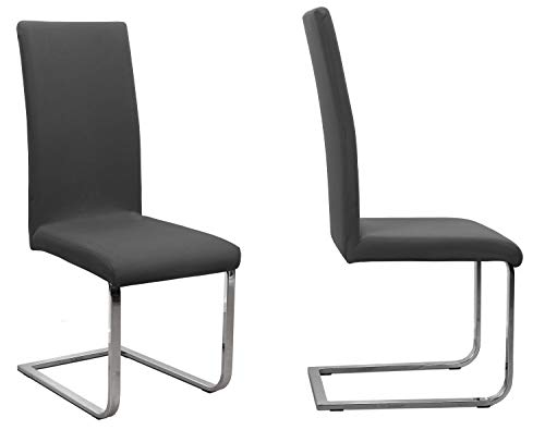 BEAUTEX 2er Set Jersey Stuhlhusse (Farbe wählbar), elastische Uni Stretch-Husse aus Baumwolle Bi-Elastisch (Dunkelgrau)