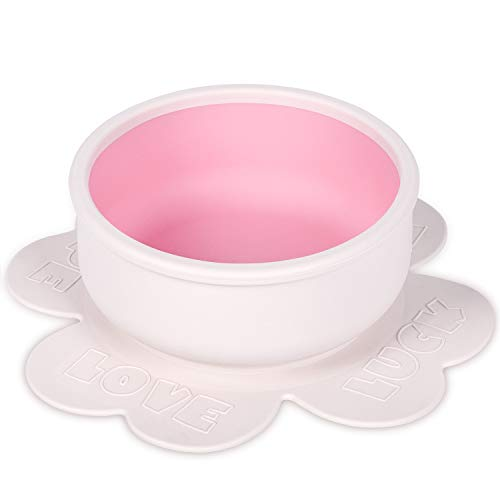 Termichy Silicone Suction Bowl, Baby Feeding Bowls with Suction Base, Silicone Bowl - BPA Free - for Babies Kids Toddlers Self Feeding (Pink)