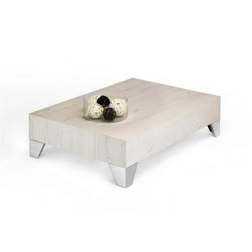 Mobili Fiver, Evo 90 Tavolino da Salotto, Rovere Crema, 90x60x24 cm, Nobilitato/Acciaio Inox Satinato, Made in Italy, Disponibile in Vari Colori