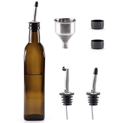 Cosyres Olivenölflasche, Ölflasche, Essigflasche, Glas für Küche/Kochen Dunkelbraun