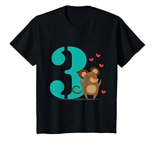 Kinder Happy Birthday zum 3 Jährigen Geburtstag Maus Herz Geschenk T-Shirt